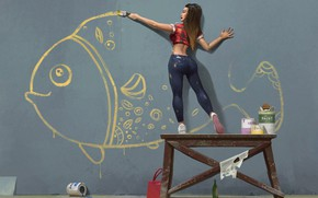 Picture girl, wall, figure, fish, brush, draws