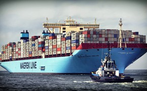 Picture Sea, The ship, Cargo, A container ship, Tugs, Container, Maersk, Maersk Line, Cargo, Tug, Ferry, ...