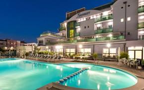 Picture the city, the evening, pool, Italy, the hotel, architecture, Cesenatico in Emilia Romagna, Bike hotel …