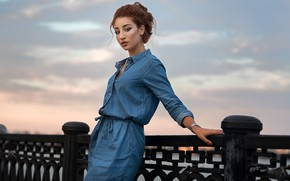 Picture the sky, look, girl, portrait, the evening, makeup, dress, hairstyle, outfit, brown hair, is, beautiful, …