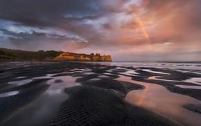 Picture rainbow, clouds, shore, coast, sand, sea, overcast, the sky, rocks