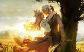 Picture sunset, romance, pair, painting, two, wreath, Spice and wolf