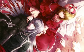 Picture crown, red dress, rose petals, puppet, visual novel, will o`wisp, ignis, hanna ellington, long white …