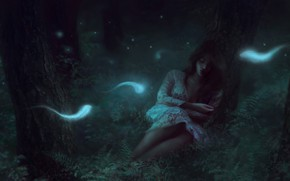 Picture forest, girl, night, perfume, sleeping