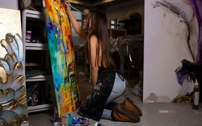 Picture pose, paint, model, jeans, shoes, figure, hairstyle, pictures, brown hair, sitting, brush, canvas, on the …