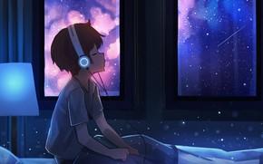 Picture Music, Night, Headphones, Kid