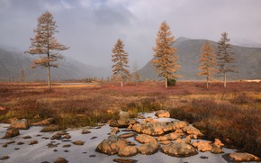 Picture autumn, the sky, trees, mountains, fog, stones, hills, shore, morning, ate, haze, Russia, tree, pond, …