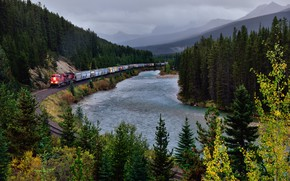 Picture Nature, Mountains, River, Forest, Train, Rails