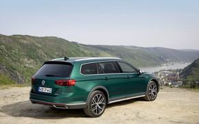 Picture Volkswagen, universal, Passat, dark green, Alltrack, 2019, river valley