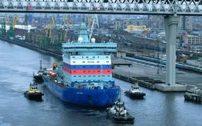 Picture icebreaker, atomic, Arctic, tugs