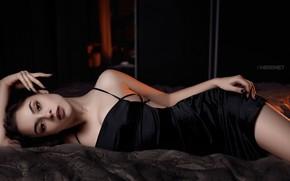 Picture look, pose, bed, portrait, makeup, figure, dress, brunette, hairstyle, lies, beauty, in black, SHEREMET, Sheremet …