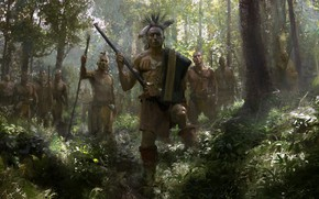 Picture The game, Trees, Forest, The Indians, Warriors, Age of Empires III