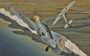 Picture war, art, airplane, aviation, ww2, messerschmitt bf 109, supermarine spitfire