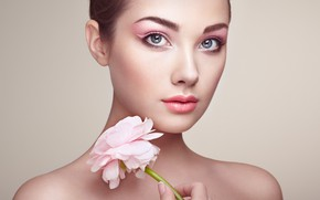 Picture flower, eyes, look, girl, face, arrows, portrait, makeup, Oleg Gekman