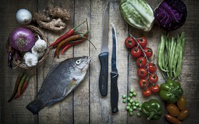 Picture fish, knives, vegetables