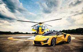 Picture Auto, Yellow, Machine, Helicopter, Rendering, Supercar, Concept Art, Sports car, SuperSport, Transport & Vehicles, Benoit …