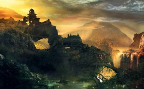 Picture the sky, mountains, temple, vodopol, Fantasy myth