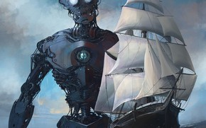 Picture sea, wave, ship, Roboto, ships and robot x-5