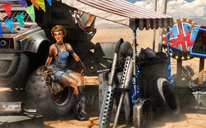 Picture girl, garage, Sergey Kondratovich, Post Apocalyptic pin up BLACK FRIDAY