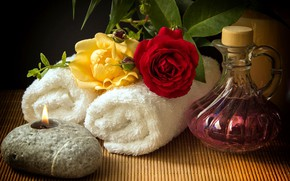 Picture flowers, background, towels