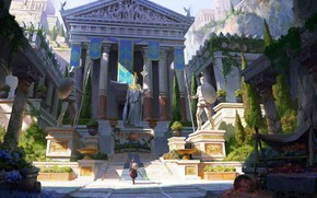 Picture ladder, columns, temple, shield, statues, spears, banners, cypress, Spartan, Assassin's Creed, Athena, Assassin Creed, Ancient …