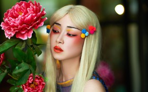 Picture flower, girl, makeup, Asian