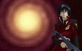 Picture background, anime, art, galaxy, guy, Gundam, Mobile Suit Gundam