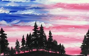 Picture forest, the sky, clouds, trees, sunset, abstraction, strip, flag, horizon, watercolor, strokes