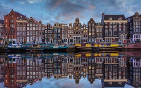 Picture water, reflection, home, boats, Amsterdam, Netherlands