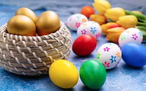 Picture holiday, eggs, Easter, tulips