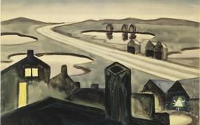 Picture Charles Ephraim Burchfield, Railroad at Night, 1920