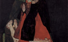 Picture Egon Schiele, Love or affection, Cardinal and nun