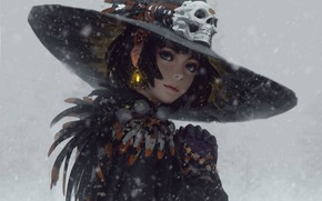 Picture snow, haircut, skull, feathers, blue eyes, grey background, earring, in the hat, portrait of a …