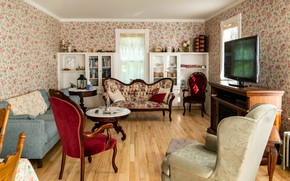 Picture room, sofa, furniture, Windows, interior, TV, chairs, canapés, Victorian style