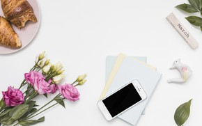 Picture flowers, coffee, bouquet, eustoma, Smartphone, notebooks