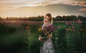 Picture grass, girl, flowers, dress, blonde, Alexander Drobkov-Light, Zoya Kuznetsova