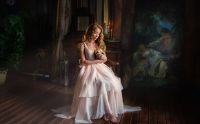Picture girl, pose, room, hair, picture, candles, dress, book, Anastasia Barmina