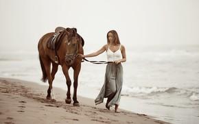 Picture sea, girl, horse, shore