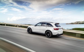 Picture road, coast, Mercedes-Benz, speed, side view, AMG, crossover, GLC, 2020, 4Matic+, GLC 63S
