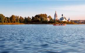 Picture landscape, nature, lake, boat, island, Свято-Троицкий Островоезерский монастырь, Тосканка