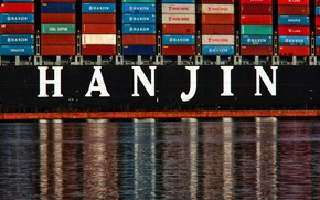 Picture Water, Reflection, Board, The ship, A container ship, Side view, Container, Zaton, Hanjin, Container Ship