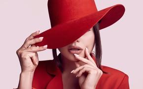 Picture girl, red, hands, Hat, Makeup, elegant, Alex Volot