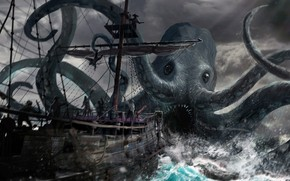 Picture ship, octopus, pirates, octopus