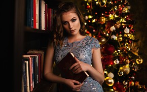 Picture look, girl, books, dress, tree, hairstyle, Vlad Popov