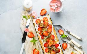 Picture berries, cheese, strawberry, pie, dessert