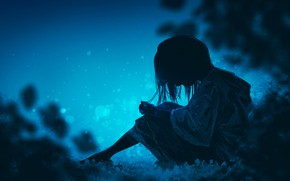 Picture sadness, night, nature, loneliness, girl