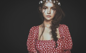 Picture girl, dress, brunette, wreath