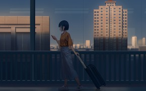 Picture girl, the city, the evening