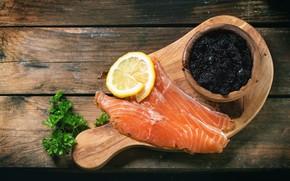 Picture greens, lemon, fish, Board, caviar