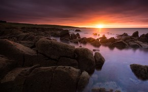 Picture sea, the sun, clouds, rays, light, sunset, stones, rocks, shore, coast, France, horizon, surf, boulders, …